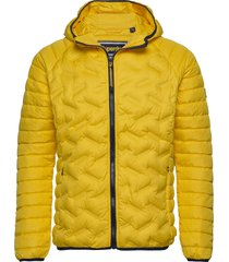 down radar mix quilt jacket doorgestikte jas geel superdry