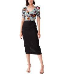 women's dvf abriella reversible floral mesh top, size small - black