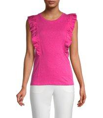 bcbgmaxazria women's ruffled sleeveless top - very berry - size xs