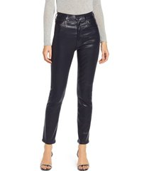 women's citizens of humanity olivia high waist slim faux leather pants, size 24 - blue