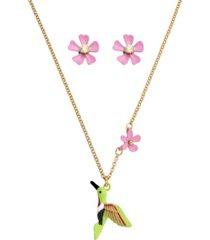 betsey johnson hummingbird jewelry set, 2 pieces