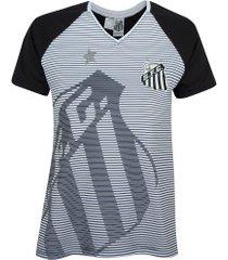 camiseta do santos shield - feminina - preto