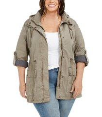 levi'strendy plus size lightweight parachute cotton hooded fishtail jacket