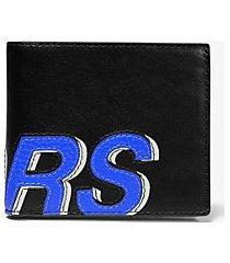 mk portafoglio a libro greyson in pelle martellata con scritta kors - blck/pop blu - michael kors