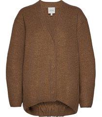 bea long stickad tröja cardigan brun dagmar