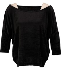superstrash korter oversized zwart velvet shirt