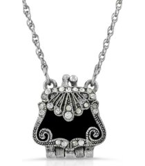 2028 silver-tone with crystal accents and black enamel purse locket necklace