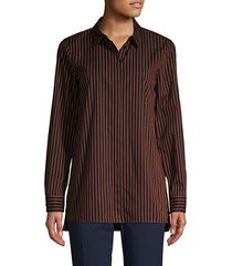 pinstriped high-low cotton shirt