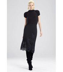stretch knit bodysuit top, women's, black, cashmere, size m, josie natori