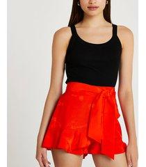 river island womens orange jacquard frill tie waist shorts