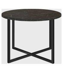 mesa de centro redonda marquina/est preto artesano