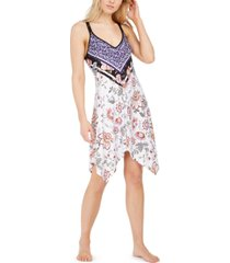 linea donatella mixed-print chemise nightgown