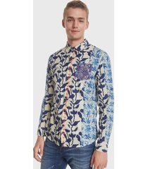 camisa desigual estampada multicolor - calce slim fit
