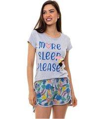 pijama short doll manga curta tropical feminino luna cuore