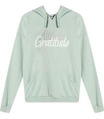 hoodie mujer attitude grattitude colorverde, talla l