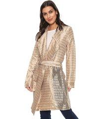 casaco trench coat forum metalizado dourado - dourado - feminino - acetato - dafiti