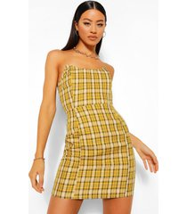 geruite strapless mini jurk met naad detail, mosterd