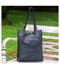 leather shoulder bag, 'jogja stars in graphite' (indonesia)