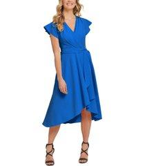 dkny flutter-sleeve faux-wrap dress