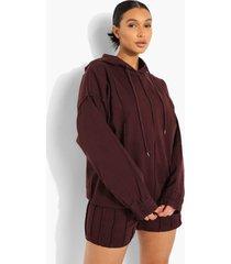 denim hoodie met naaddetail, chocolate
