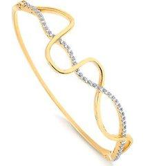 bracelete com design de linhas cruzadas cravejado de cristais folheado francisca joias