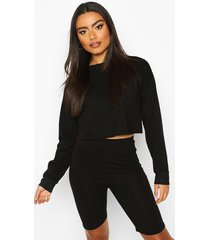 cotton long sleeve cropped top, black