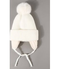 plush knitted ear warmer bubble beanie