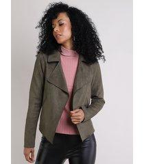 blazer feminino em suede com recorte verde militar