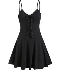 lace-up fit and flare slip dress