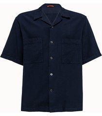 barena camicia solana in cotone blu