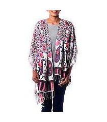silk shawl, 'pink paisley garden' (india)