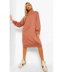 tall sweatshirt jurk met ballonmouwen en open rug, rust