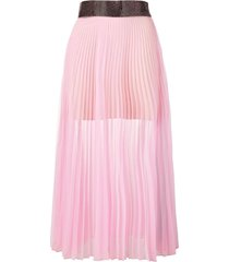 christopher kane crystal mesh pleated skirt - pink