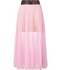 christopher kane crystal mesh pleated skirt - pink