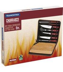kit para churrasco inox da tramontina com cabo castanho polywood - tábua e estojo 8 peças