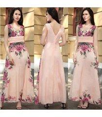 largo maxi floral gasa sin mangas sexy sin tirantes fiesta plisada vestidos verano pink03 playa de cintura alta vestido-pink03
