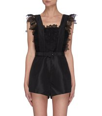 lace trim bodice belted playsuit