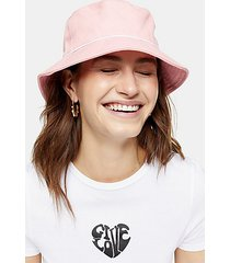piped bucket hat in pink - pink