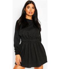 petite sweatshirt jurk met geplooide taille, black
