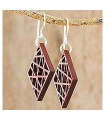 recycled wood dangle earrings, 'geometric composition' (guatemala)