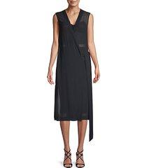 sleeveless shift wrap dress
