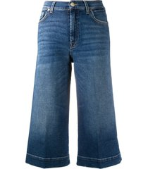 7 for all mankind culotte luxe vintage flared shorts - blue