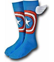 captain america crew socks with wings new men's hosiery size 10-13 marvel