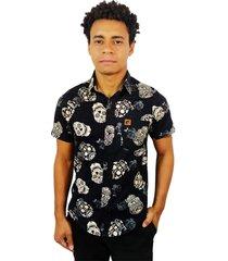 camisa estampada casual camaleã£o urbano caveira mexicana black roses - preto - masculino - algodã£o - dafiti