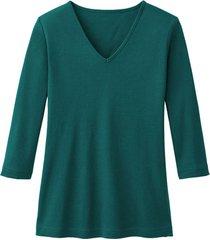 enna biokatoenen shirt met v-hals en 3/4 mouwen, oceaanblauw 34