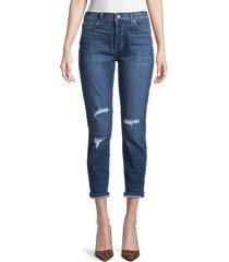 7 for all mankind women's josefina femine skinny crop boyfriend jeans - blue destroyed - size 23 (00)