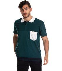 camiseta tipo polo puntazul azul verde oscuro