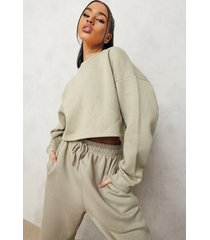 oversized korte sweater, taupe