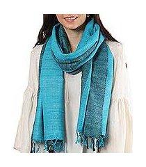 silk shawl, 'turquoise bihar diamonds' (india)