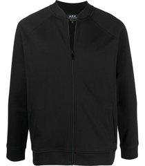 a.p.c. zipped crew-neck sweatshirt - black